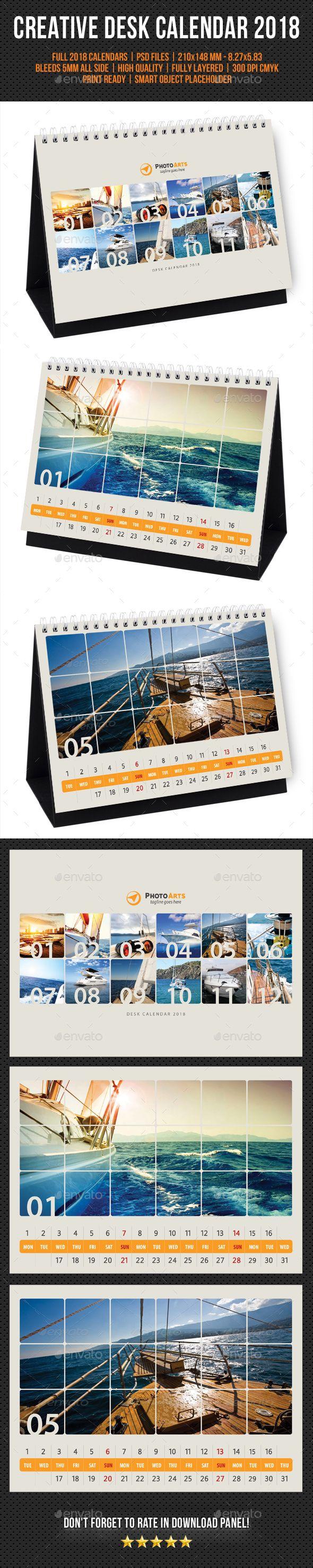 #Creative #Desk #Calendar #template #2018 V28 - #corporate #company Calendars Stationery #design. download; https://graphicriver.net/item/creative-desk-calendar-2018-v28/20311151?ref=yinkira