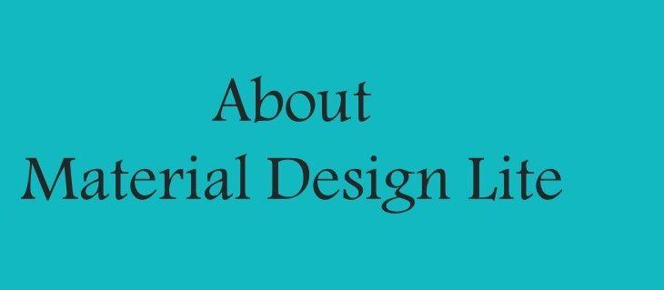 Material Design Lite - an intro
