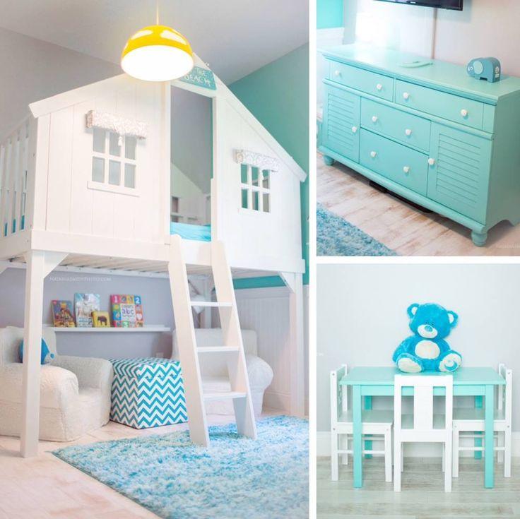 PB kids loft bed :: window treatments