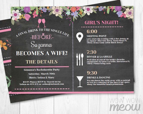 33 best Itinerary Bridal Shower Invitations images on Pinterest - bachelorette invitation template