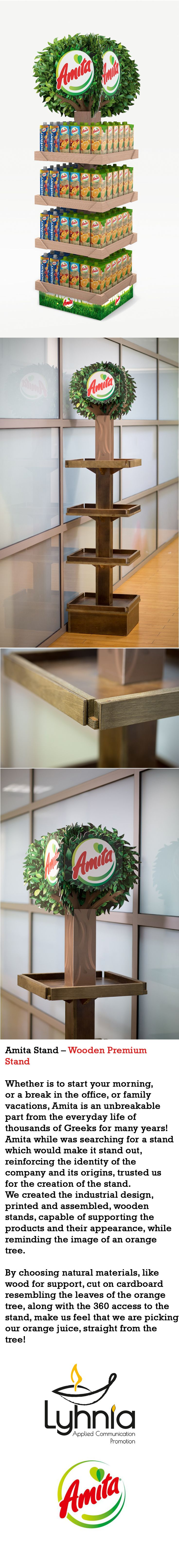 Amita while was searching for a stand which would make it stand out, while reinforcing the identity of the company and its origins,trusted us for the creation of the stand. We created the industrial design, printed and assembled, wooden stands, capable of supporting the products and their appearance,while reminding the image of an orange tree.   By choosing natural materials, like wood for support, cut on cardboard resembling the leaves of the orange tree, along with the 360 access to the…
