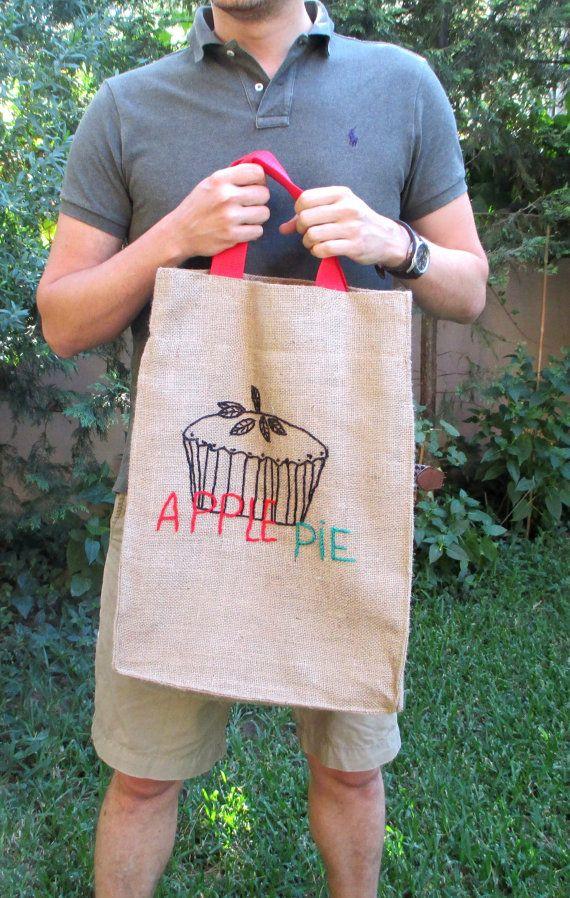 Apple pie jute market tote farmers bag chic stylish by Apopsis