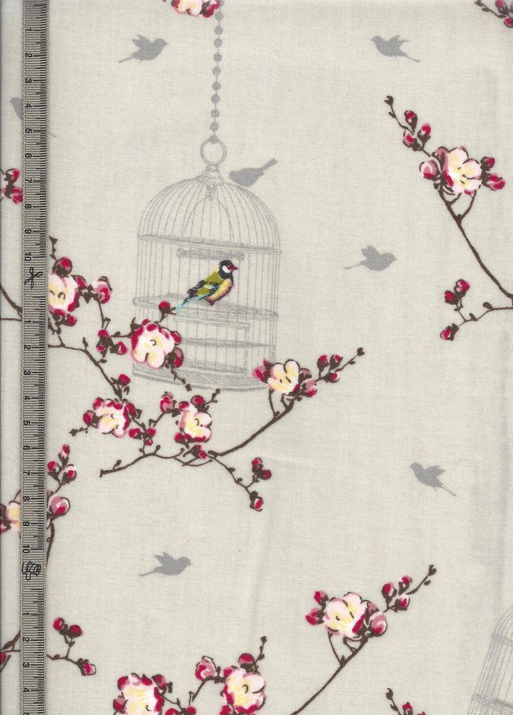 Toile cir e cr me motif cage aux oiseaux fleurs de for Au maison toile ciree