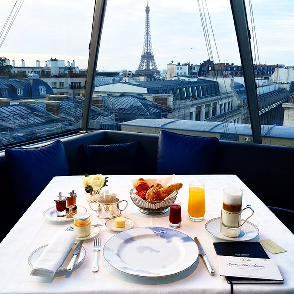 Winter blue morning in Paris. The l'Oiseau Blanc has a great view for breakfast and lunch but the...