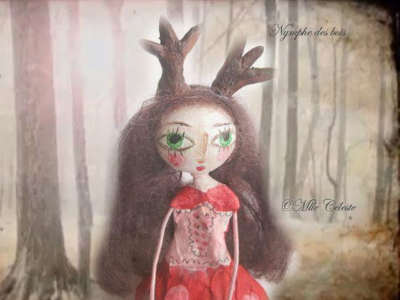 Art doll ooak doll deer doll antlerspaper par MlleCelesteArtdoll