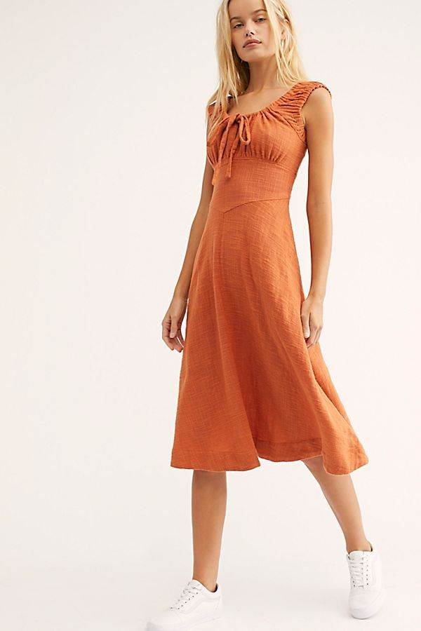 91a0124ebccd Lotti Midi Dress - Orange Cap Sleeve Midi Dress with Tie Top - Endless Summer  Dresses - Boho Midi Dresses - Free People Dresses