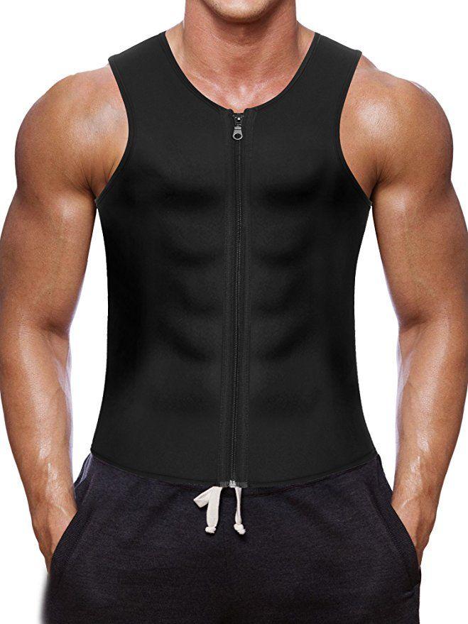 7297572def Men Waist Trainer Vest for Weightloss Hot Neoprene Corset Body Shaper Zipper  Sauna Tank Top Workout Shirt (M