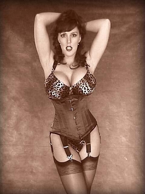 Has busty corset and stockings have
