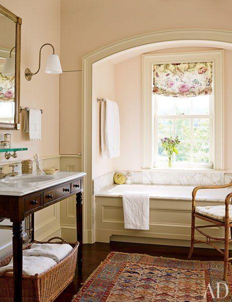 Bath, New York farmhouse by Gil Schafer, via  Architectural Digest: Tubs, Bamboo Chairs, Bathroom Wall, Gil Schafer, Bathroom Ideas, Master Bath, New York, Bathroom Decor, Pink Bathroom
