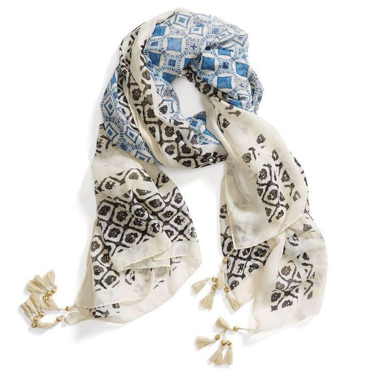 **** Love this blue, black and white tassel scarf. Such a great print! Stitch Fix Fall, Stitch Fix Spring Stitch Fix Summer 2016 2017. Stitch Fix Fall Spring fashion. #StitchFix #Affiliate #StitchFixInfluencer