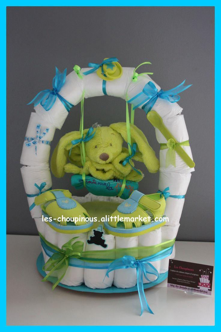Cadeau naissance baptême gâteau de couches garçon balançoire : Décoration pour enfants par les-choupinous