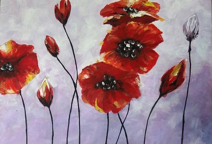 Pipacsok, akril festmény 40x50 cm