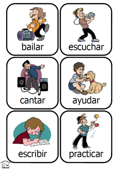 Spanish Action Kids -- 48 verb cards & translation list ==> FREE using PKS points!  [PrintableKidStuff.com]