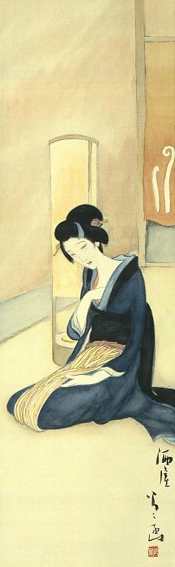 Japan antique art. illustrator / Yumeji Takehisa. kimono beauty lady. last years of the taisyo period .