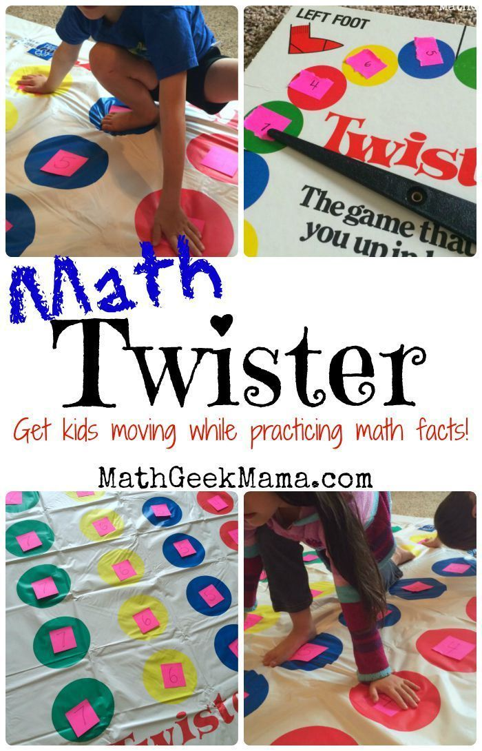 Use the classic game Twister to practice all sorts of math facts! A great way to get kids moving and learning at the same time! #adultmath