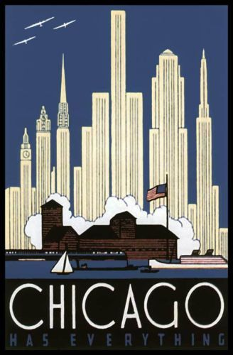 U.S. OLD FORT CHICAGO IN 1930'S SKYLINE ADVERTISING POSTER