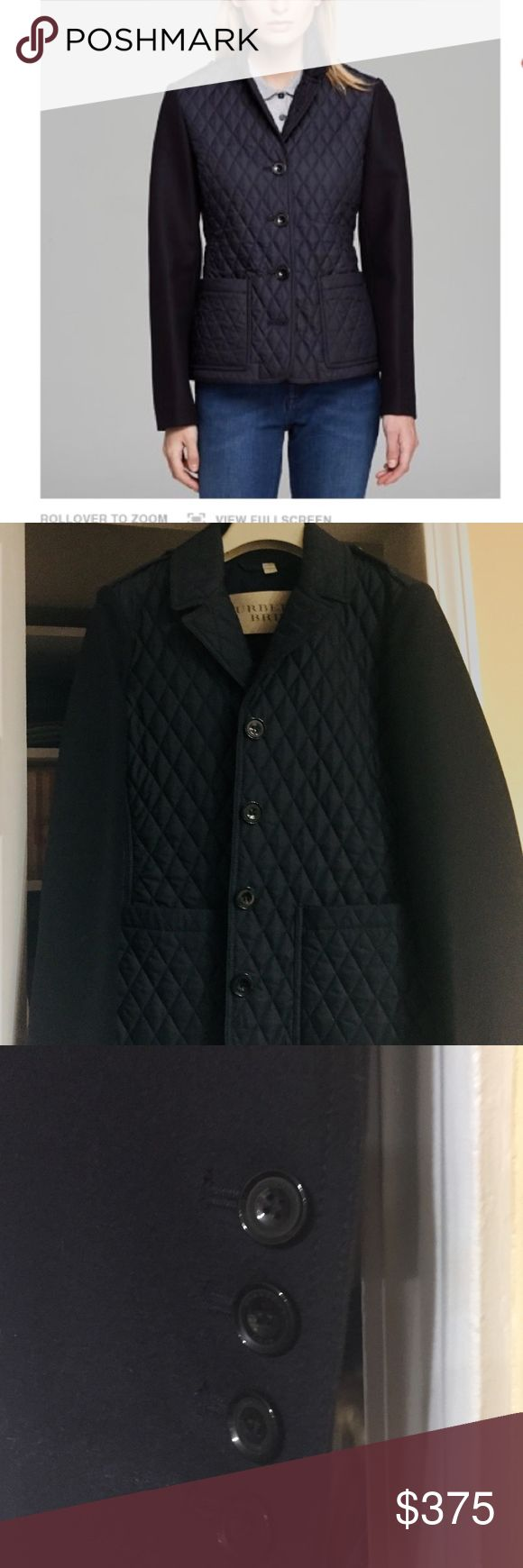 New Burberry Brit Jacket Never worn Classic Navy jacket with diamond quilting on bodice and contrast wool sleeves.lapel collar. epilogs  wool sleeves with button cuff. front button with two hip patch pockets.Button back tab waist and peplum. Lined. Burberry Jackets & Coats