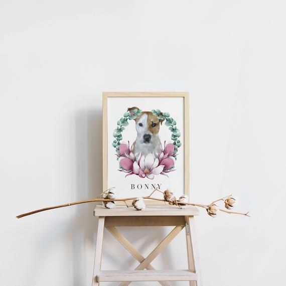 Personalized Pet Portrait Print, Printable Wall Art, Pet Illustration, Custom Me… – Products