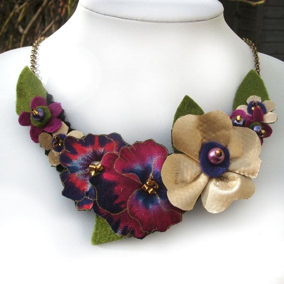 Fabric Bib Necklace with Hot Pink and Purple by CraftyJoDesigns