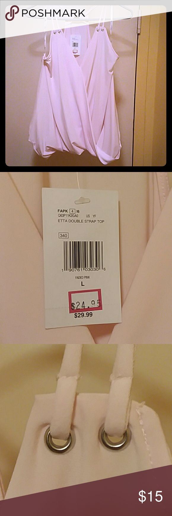 """Guess """"Etta"""" wrap front, double strap blouse Blush pink, criss-cross in front, elastic at waist, very drapey polyester w 4% spandex.  Too big on me but I imagine it would look good under almost any cardigan or jacket, with skinnies to flares, denim mini skirts & even long flowing skirts 😊. Guess Tops Camisoles"""