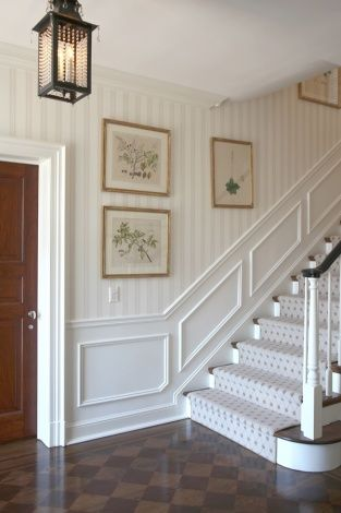 Lantern, subtle striped walls, framed botanicals, checked floor - Leta Austin Foster Design - Palm Beach