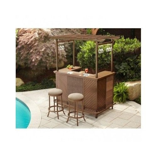 Tiki Hut Bar 3 Pc Pergola Patio Pub Stools Backyard Party Furniture Deck Pool  #HamptonBay