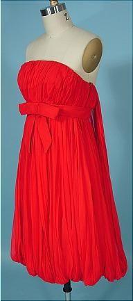 """50's red silk chiffon bubble dress""   So sweet."
