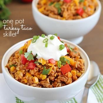Image for Turkey Taco Skillet {one pot dish}  I will leave out the rice because I'm trying to cut down on carbs and I will substitute the sour cream for non-fat Greek Yogurt.  Looks Yummy!