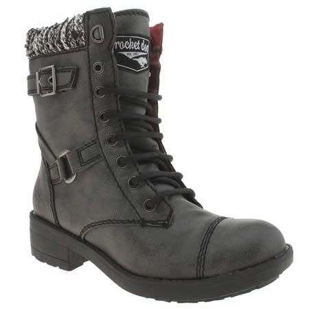 womens rocket dog black thunder blankie boots