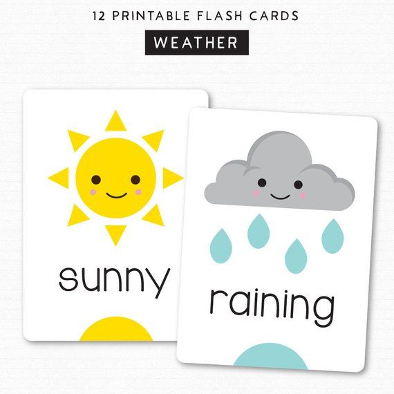 image relating to Printable Flashcards for Toddler identify Youngsters Flash Playing cards - Find out Weather conditions - Printable Playing cards - 12 Adorable