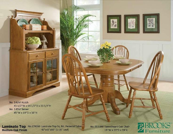 Brooks Furniture Dining Room Laminate Top Medium Oak Finish Table 174260