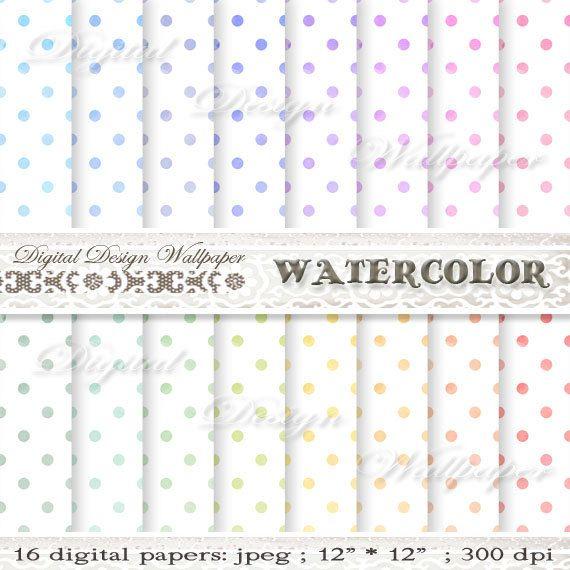 Watercolor Polka Dots Digital by DigitalDesignPaper on Etsy