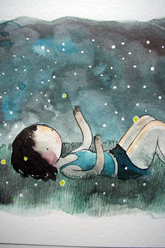 Fireflies 8x10 print - watercolor drawing and painting of a girl ...