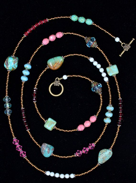 Long beaded necklace w/natural turquoise, Swarovski, & vintage beads.
