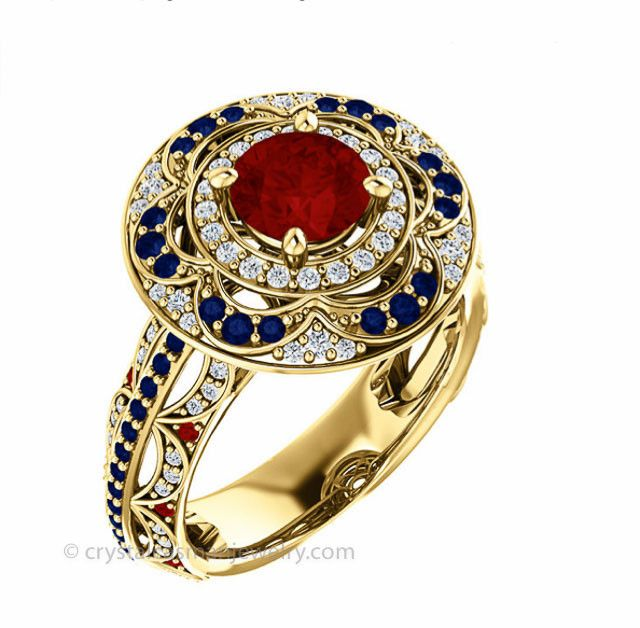 This is a stunning ruby, sapphire, and diamond cocktail or engagement ring in solid 18k gold. *Price reflects 50% initial deposit; remainder charged upon shipment. - AA grade round ruby, eye-clean - 6