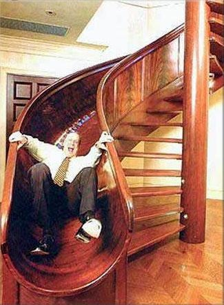 Wooden slide and stairs combo. When I'm rich, I'm having one of these darn it! though.. not with stairs that are open like that. Those scare me.