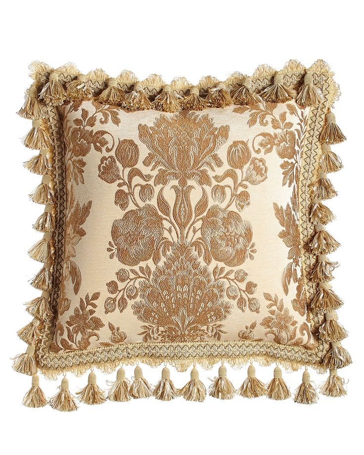 Decorative Pillows With Tassels : Bellissima Floral Pillow with Tassel Trim, 18
