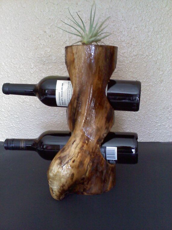 Curvy Wine Rack in Aspen Log
