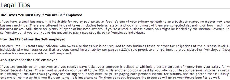 """""""Taxes You Must Pay If You are Self Employed  Legal Tax Tips, Tax tips to face the Internal Revenue Service -- http://tax-attorney.wikidot.com/legal-tips """""""