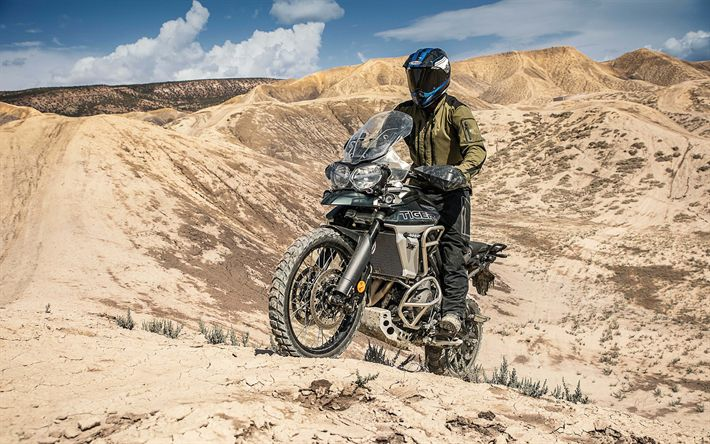 Download wallpapers Triumph Tiger 800 XCA, 2018, 4k, cross-country motorcycle, desert, new motorcycles, Triumph
