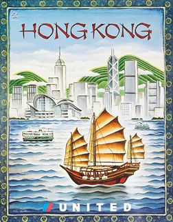 Zeltner, Tim  Hong Kong - United Airlines, 2007 #vintage travel poster