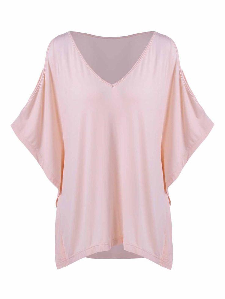 Plus Size Batwing Sleeve Smock T-Shirt #women, #men, #hats, #watches, #belts, #fashion, #style