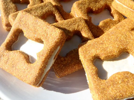 Organic Dog Treats - Pumpkin Creams - All Natural Dog Treats Organic Cookie Sandwiches - Shorty's Gourmet Treats on Etsy, $6.50