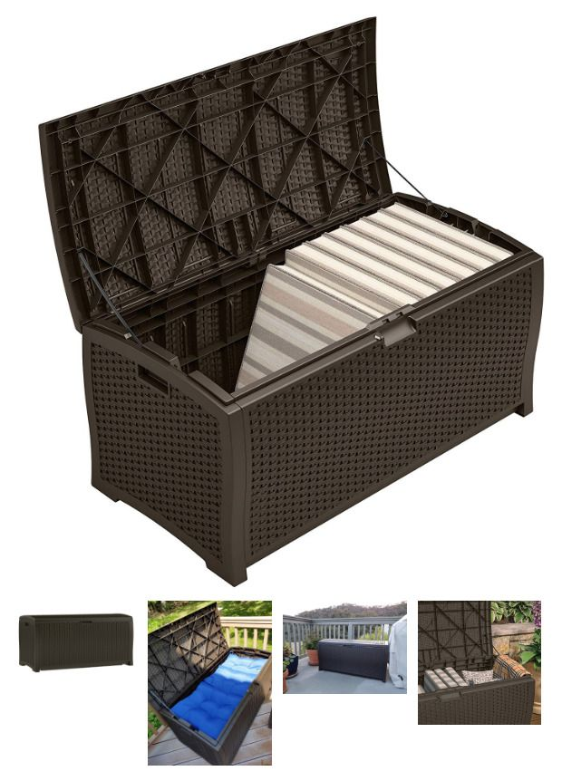 suncast 99 gallon resin wicker deck box outdoor patio cushion storage brown new suncast - Patio Cushion Storage