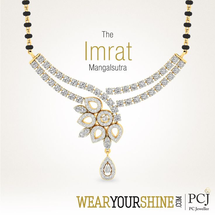 "Embrace your wife with the beautiful ""Imrat Mangalsutra"" by WearYourShine  #WearYourShine #Love #PCJeweller #IndianJewellery #diamonds #Mangalsutra #Happiness #Wedding"