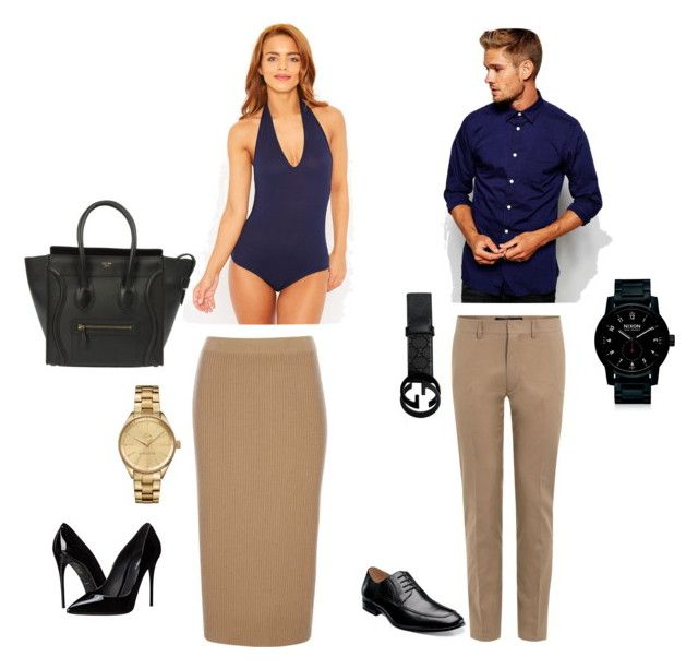 """Matching couple outfit"" by dquezada29 on Polyvore featuring Wallis, Dolce&Gabbana, Lacoste, CÉLINE, SELECTED, Valentino, Florsheim, Gucci, Nixon and women's clothing"