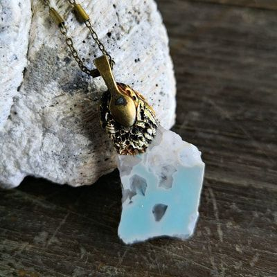 Saltwater Adornment - ice blue agate slice & clay pendant