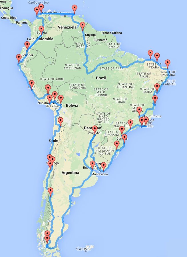 The South America Optimal Road Trip: a trip with a nice mix between beautiful outdoor sights and lively cities across the entire South American continent.