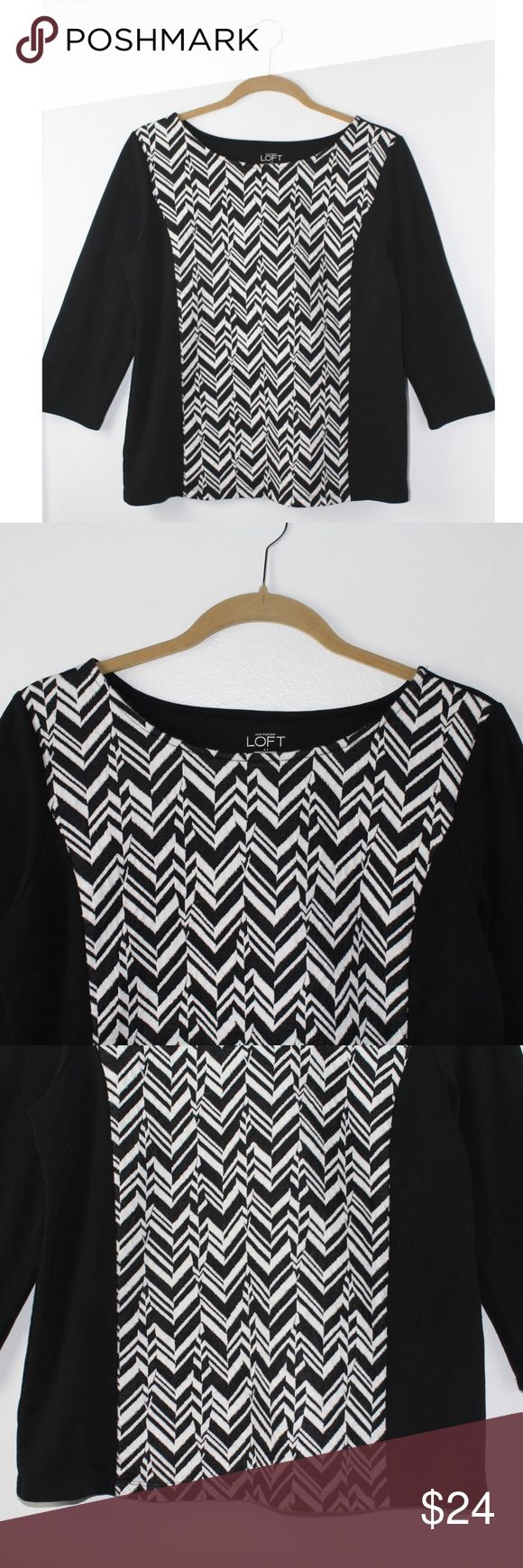 """Ann Taylor LOFT Chevron Blouse Ann Taylor LOFT Chevron Blouse, Size Medium, 3/4 Sleeve, Black & white chevron print, Round neck, Pullover style, Bust approx. 19"""" across pit to pit, Length approx. 23"""", Pre owned great condition! LOFT Tops Blouses"""