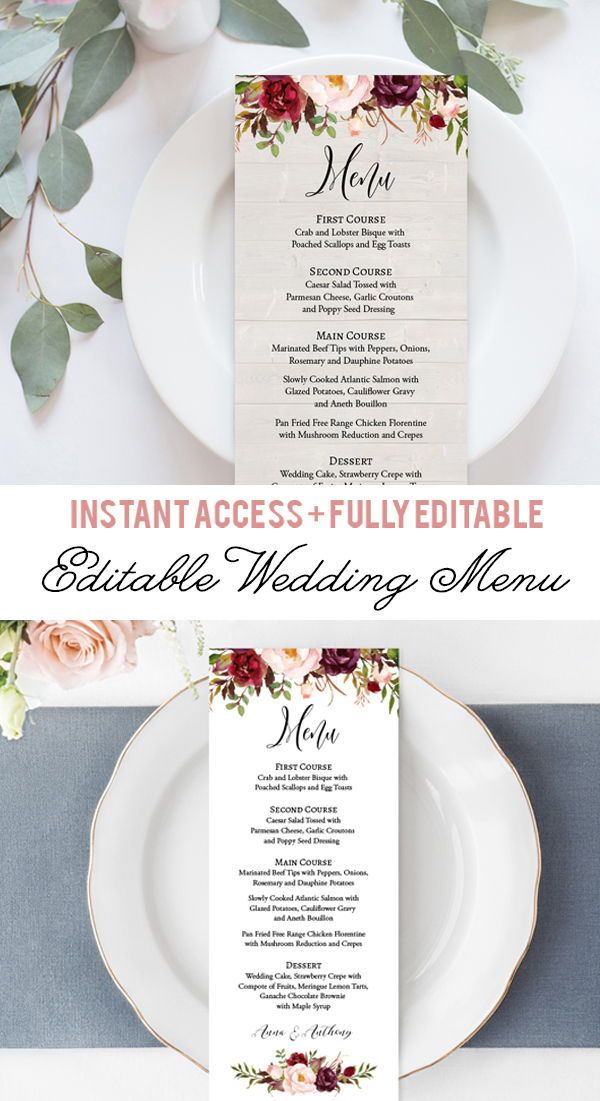 Burgundy Flowers Menu Template Burgundy Floral Wedding Dinner Menu Printable Kraft Menu Card Digital Menu Template Pdf Editable Text Fl1 Printable Wedding Menu Wedding Brunch Invitations Diy Wedding Programs